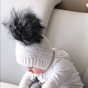 Other - White Hand Crocheted Pixie Bonnet / Baby Hat